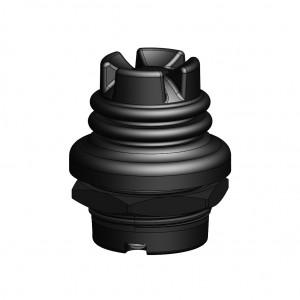 TS1-4-x-P-x-BK_ Castle Cap, Plastic Hsg, Black Cap